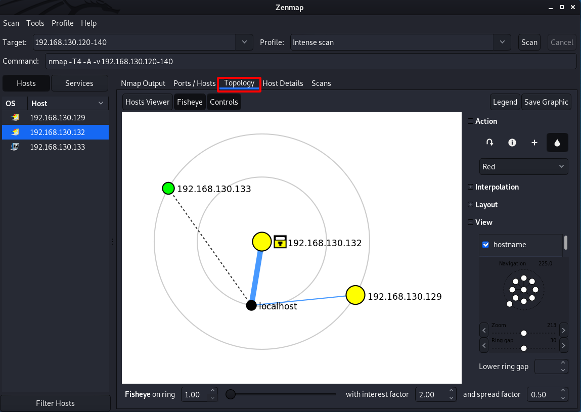 How to use ZENMAP - The Topology tab in ZENMAP. Source: nudesystems.com