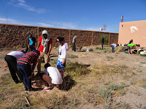 Photo: Institut Technologie Hotellère et Touristique, Ouarzazate. We work with the Groasis Waterboxx to plant trees