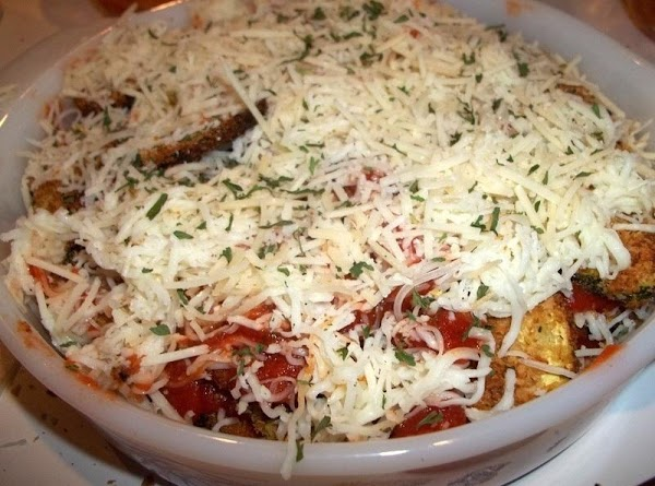 Repeat the steps until you have 3 layers of zucchini, cheese and sauce. I...