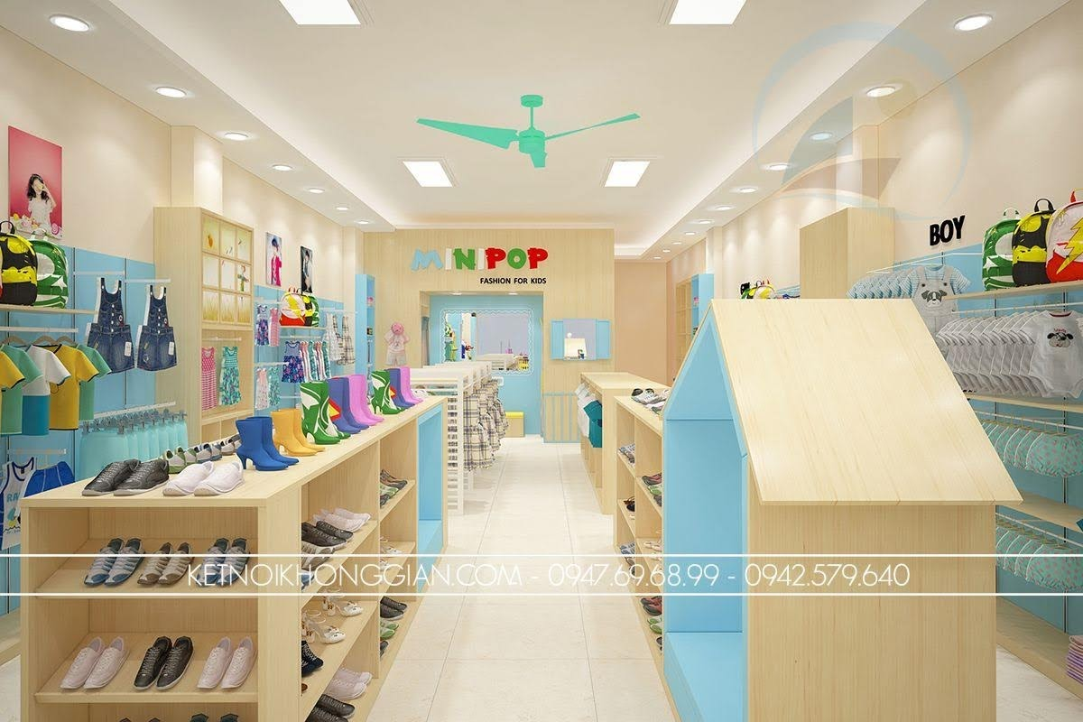 thiết kế shop thời trang trẻ em nổi bật