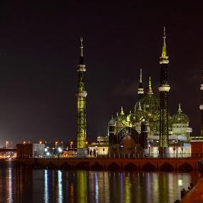 Masjid Kristal (Crystal Mosque). Kuala Terengganu, MALAYSIA by Rusydi Ali - Buildings & Architecture Places of Worship ( lights, night,  )