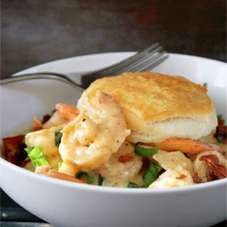 Creamy Cajun Shrimp with Biscuits and Bacon