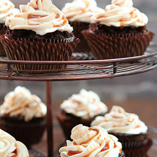 Guinness Chocolate Cupcakes with Irish Whiskey Frosting.