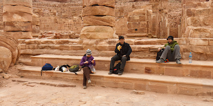 Photo: Lunchtime with Serene, Young Sam and Scott on the steps of the Great Temple