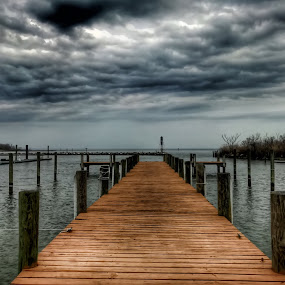 Dock of the Bay by Chris Montcalmo - Landscapes Waterscapes ( water, clouds, hdr, outdoors, waterfront, dock )