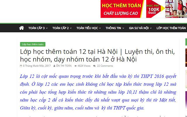 Học Thêm Toán 12 ở Hà Nội