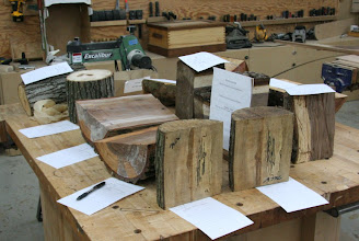 Photo: Lots of large split logs on the March Meeting Silent Auction Table.