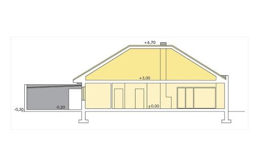 Alabama 2 wersja D z podwójnym garażem - Przekrój
