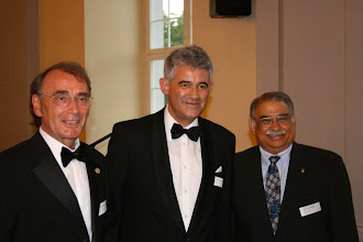 "Photo: President Klaus Diegritz, President Crispino Bergamaschi (Rotary Club of RC Freiamt, in Switzerland), and the Governor of central Switzerlans Bayatangar. Klaus is a Swiss Paul Harris Fellow. He says ""That's bridging countries and continents.""- June 2010"