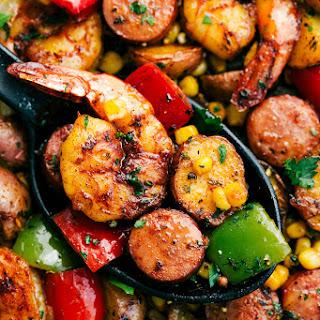 One Pan Garlic Herb Shrimp and Sausage.
