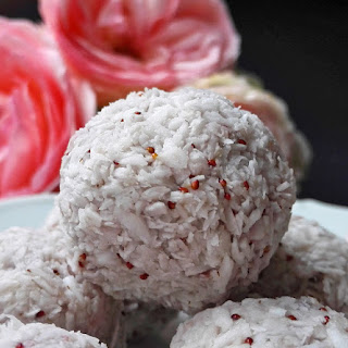 Raw Vegan Strawberry Coconut Truffles.