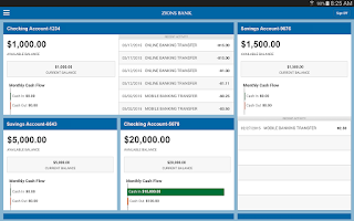 Screenshot of Zions Bank Business Banking