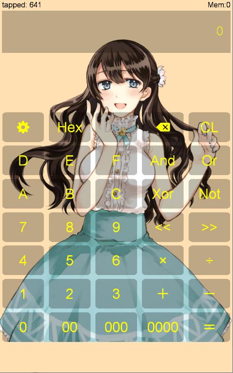 萌え萌え電卓 - 普通の電卓と16進数電卓 -