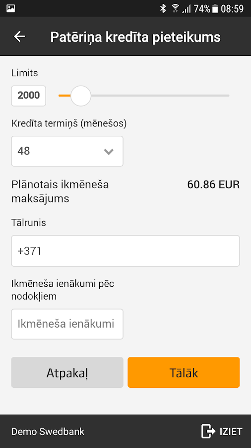 Swedbank Latvia- screenshot