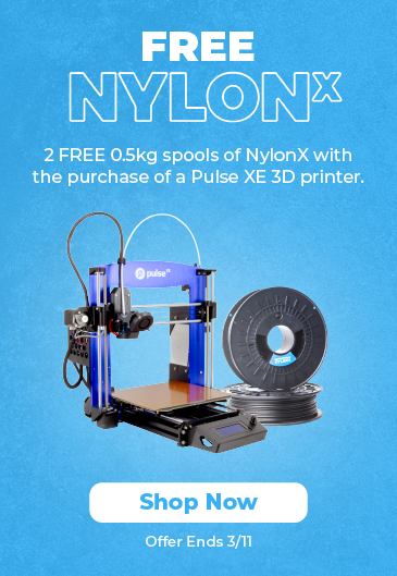 2 FREE spools of NylonX with the purchase of a Pulse XE 3D printer or Pulse XE Professional Bundle