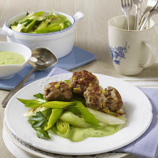 Corn Meatballs with Leeks and Parsley Sauce