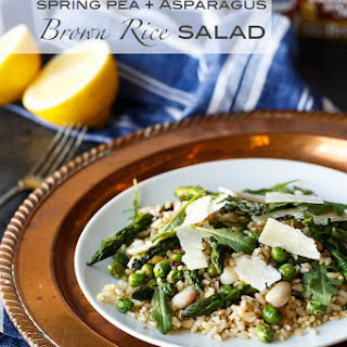 Gluten Free Spring Pea and Asparagus Brown Rice Salad.
