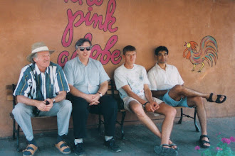 Photo: Waiting for a table at the Pink Adobe restaurant in Santa Fe, NM: Ken, Yves, Xavier, and Suhail Saquib; 1996 YB