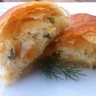 Phyllo-dough Rolls with Feta Cheese and Peppers.