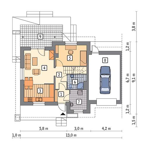 Dom na rozstaju - wariant III (bliźniak) - BCC214c - Rzut parteru