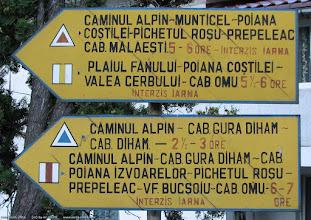 Photo: Panou cu trasee: TR, BG, TA, BR - la piciorul podului pietonal de peste DN1, fix langa Gara Busteni.  Blog post: http://l.blog.iacob.name/2016/07/poiana-la-verdeata-costilei-caminul-alpin.html