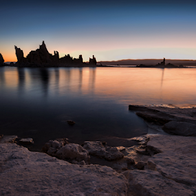 Mono Lake at Sunrise by Phyllis Plotkin - Landscapes Waterscapes ( mono lake, california, formations, lake, sunrise, alkaline, oasis )