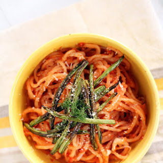 Winter Tomato-Fennel Turnip Noodles with Roasted Petit Green Beans.