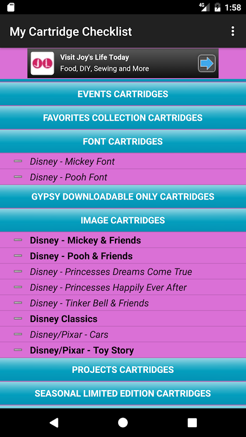 My Cartridge Checklist- screenshot