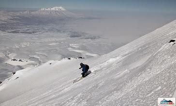 Photo: Skier: Pazout, location: slopes of Avachinsky, volcano Zhupanovsky in the background