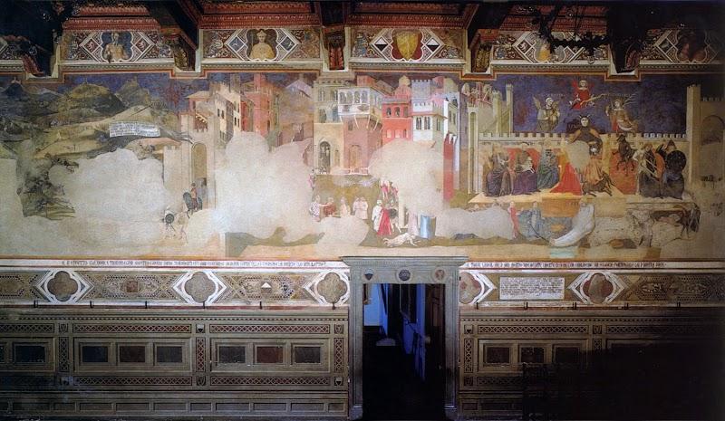 Ambrogio Lorenzetti,Allegoria del Cattivo Governo ed effetti del Cattivo Governo in città e in campagna, la parete Ovest della Sala dei Nove del Palazzo Pubblico
