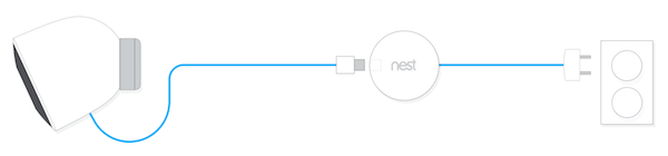 Nest camera outdoor cable routing image.