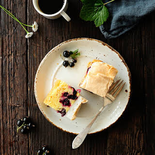 Blackcurrant Cake With Pudding And Meringue.