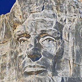 Lincoln - Mt. Rushmore by Jerry Cahill - Digital Art Places