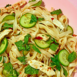 Cold Asian Noodle Salad with Chicken and Cucumbers.