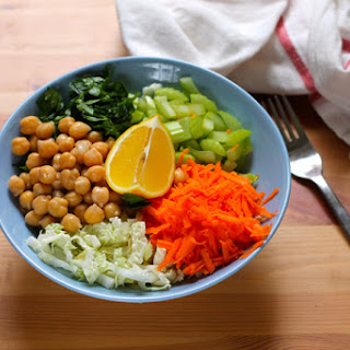A Light Lunch Bowl - Napa Cabbage Slaw With Chickpeas