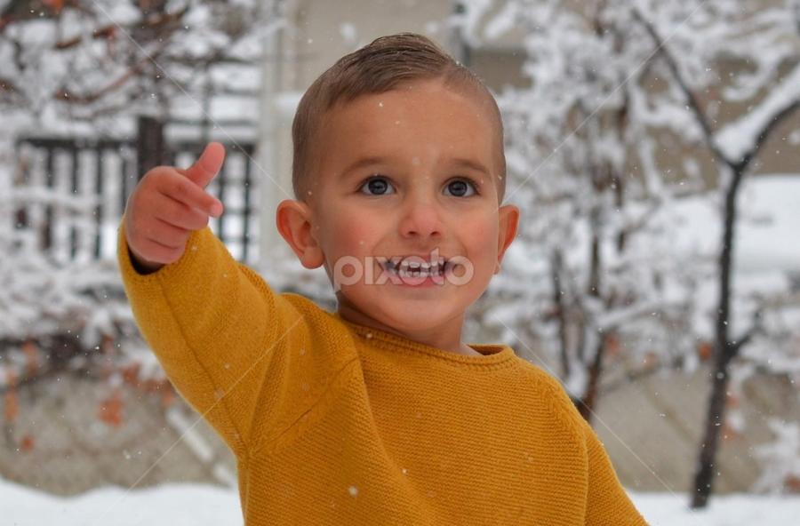 snow by Mark Warick - Babies & Children Child Portraits ( snow, background, yellow, winter, photo, boy, trees, photography, fashion )
