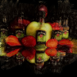 After 5 Shots of Jim Beam Apple by Dave Walters - Food & Drink Alcohol & Drinks ( fruit, jim beam apple bottles, colors, still life, alcohol, digital art, artistic, whisky, lumix fz2500 )