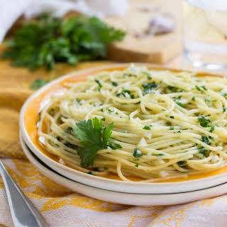 Angel Hair Pasta With Light Garlic Sauce.