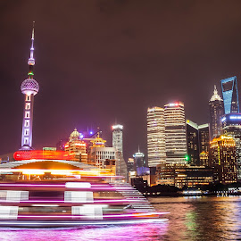 Glittering Shanghai by Victor Mukherjee - City,  Street & Park  Skylines ( china, neon, reflections, busy city, shanghai, cityscape, boat )
