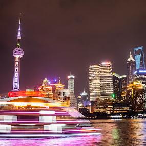 Glittering Shanghai by Victor Mukherjee - City,  Street & Park  Skylines ( china, neon, reflections, busy city, shanghai, cityscape, boat )