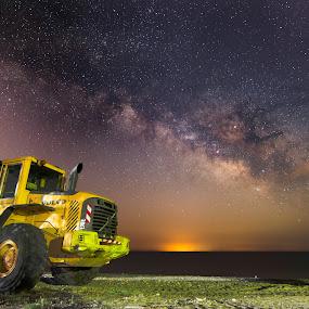 Bulldozer by Grigoris Koulouriotis - Transportation Other ( working machine, night photography, stars, bulldoza, machine, nightscape, milky way,  )