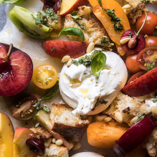 Tuscan Summer Stone Fruit, Tomato, and Burrata Panzanella Salad Recipe