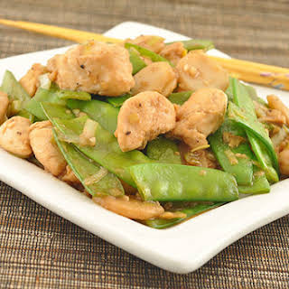 Stir-Fried Chicken with Snow Peas and Ginger.