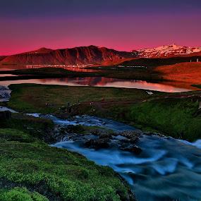 The Colours of Midnight... by Avishek Patra - Landscapes Sunsets & Sunrises ( canon, midnightsun, kirkjufell, mountain, colors, travel, landscape, photography, island, iceland, midnight, sunset, akpphotography, river,  )
