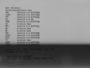 Photo: ASV boot process: hardware summary (note that the SCSI ID is wrong at this point and the system didn't boot afterwards - boot device needs to be at ID 0)