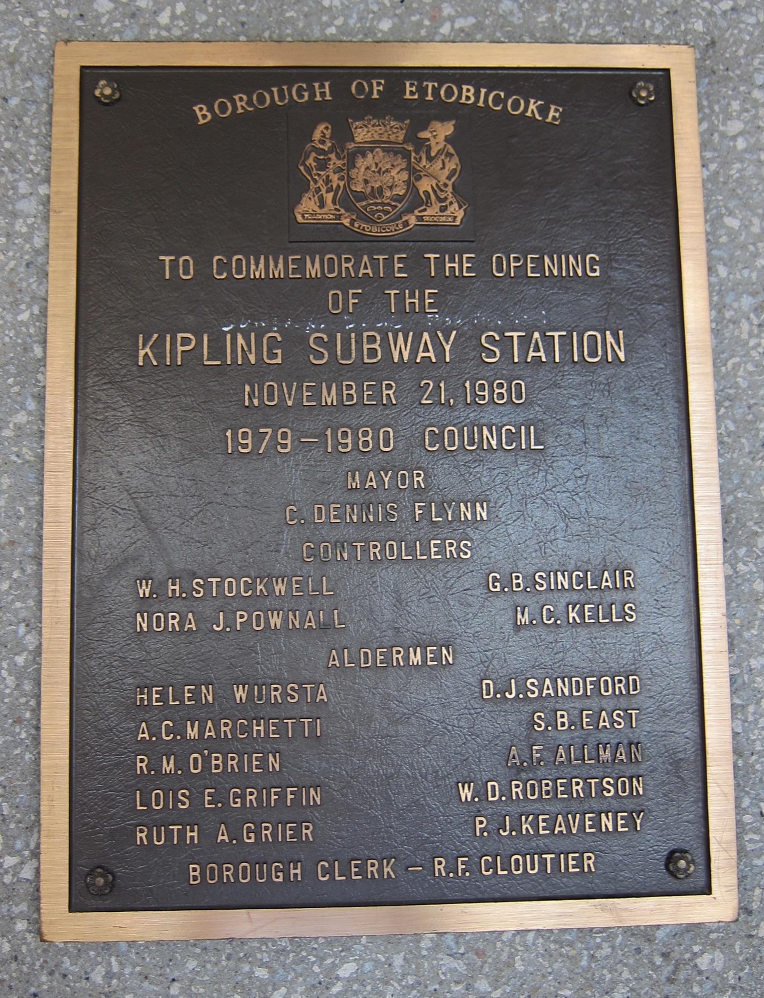 Photo: Commemorative plaque, bus platform level: Kipling station opened November 21, 1980. (open to the public Nov 22)