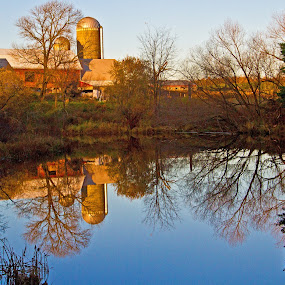 Timeless by Reva Fuhrman - Landscapes Waterscapes ( farm water reflection fall trees,  )
