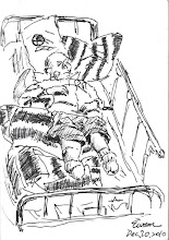 Photo: 老病人2010.12.20鋼筆 在我上腰鏈時,這位住院的截肢老病人在抱怨著他根本跑不掉,何以還要受這樣的對待,我雖無奈亦不忍,但仍繼續我的動作,並告訴他依法規定我仍必須如此執行… 在前總統夫人收監在即的這段時間人們有著不少討論,人道及社會期待這天秤的兩端似乎難以平衡兩全… 平心而論,法律、刑罰本身的存在就是一種人們基於社會期待而共同制定的規範,在這樣的爭論中我卻看到人們只關心這麼一個單一個案,卻沒有人真的有心去了解現行獄政實務上,那些重症人犯在監執行及照顧的現況究竟如何…