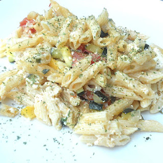 Baked Ziti with Summer Vegetables (adapted from Cooking Light).