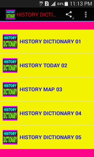 HISTORY DICTIONARY